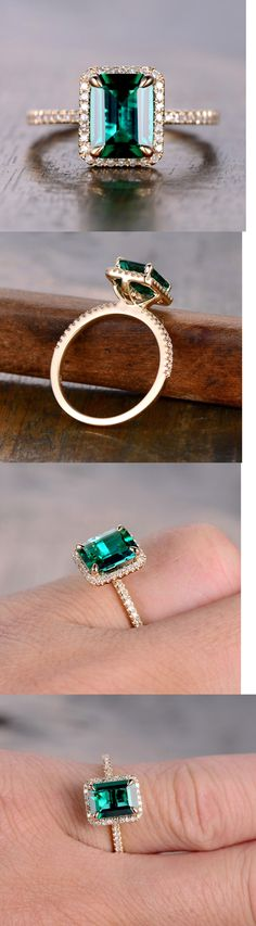 Gemstone Ring Sets Emerald Cut Morganite And Diamonds