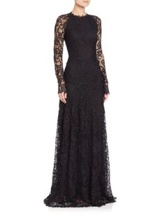 Ralph Lauren Collection - Lorriane Long-Sleeve Lace Gown
