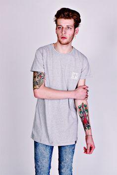 Tall Tees Cø Longline T-Shirt With Chest Logo Print