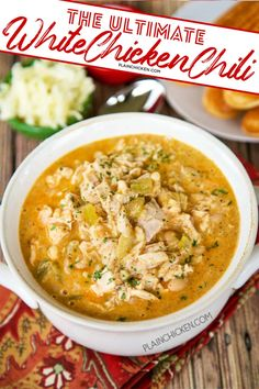 The Ultimate White Chicken Chili - the BEST of the BEST White Chicken Chilis! SO good and ready to eat in under 20 minutes! Creamy White Chicken Chili, Crockpot White Chicken Chili, Skinnytaste Chicken Chili, White Chili Seasoning Recipe, Recipe For White Chicken Chili, Crockpot Recipes, Soup Recipes, Recipies, White Bean Chili