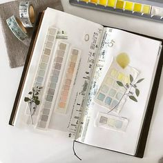 Such pretty designs from the wonderful also testing out different papers. I so much prefer cotton- I think Arches… Sketchbook Inspiration, Journal Inspiration, Journal Ideas, Bullet Journal Boxes, Color Mixing Chart, Colour Chart, Calligraphy Drawing, Sketchbook Pages, Sketchbook Ideas