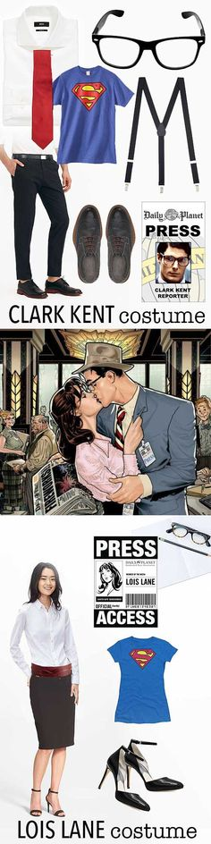 Clark Kent and Lois Lane couple's Halloween costume idea. With shopping resource where to buy everything.
