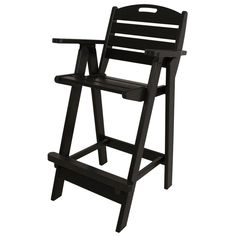 POLYWOOD Nautical Black Patio Bar Chair
