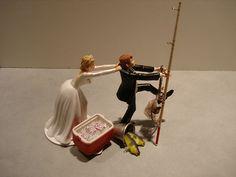 Fish Fishing Wedding Cake Topper Red Cooler Ice Bud Beer Pole Lantern Pail Net  $69.99