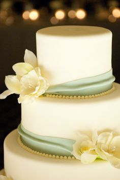 Cream and Celadon Wedding Cake.  simple but i like the draping and flowers