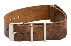 18mm Oiled Leather Worn Light Brown Nato Military Watch Band Strap – Fits All Watches!!! | Pebble Watch Bands
