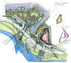 M_oplado metrostudio) master plan landscape design, landscape archite Landscape Architecture Drawing, Paper Architecture, Landscape Sketch, Landscape Concept, Landscape Plans, Landscape Drawings, Urban Landscape, Landscape Design, Landscape Architects