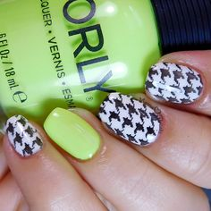 Mama Hearts Polish: Inspired by the Polish Perspective (@polishedperspec) . Black and white houndstooth stamping with neon Orly Glowstick accent.