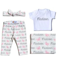 Welcome Baby Set - Butterflies Newborn Photo Shoot Outfit - Coming Home Outfit - Hat, Onesie, Leggings and Swaddle - Peony Pink and Grey - Personalized
