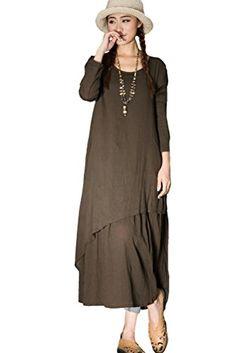 Mordenmiss Women's New Cotton Linen Long Sleeve Layered Dress Coffee Mordenmiss http://www.amazon.com/dp/B012ZB9GCO/ref=cm_sw_r_pi_dp_ch1cwb187DSBH
