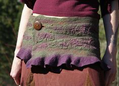 Spirit Dancer Felt Mini-Skirt in Purple and Green by SolMundoArt
