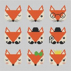 Nine cute fox cross stitch pattern Modern cross par AnnaXStitch Nine cute foxy muzzles - counted cross stitch pattern pdf. The sample on the picture is cross-stitched on 28 ct Cashel (number Raw Linen (identically Aida) and decorated on the basis 10 Modern Cross Stitch Patterns, Counted Cross Stitch Patterns, Cross Stitch Designs, Cross Stitch Embroidery, Hand Embroidery, Knitting Charts, Knitting Patterns, Knitting Abbreviations, Embroidery Designs