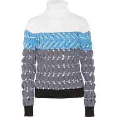 Alexander Wang Cutout textured-knit turtleneck sweater (€390) ❤ liked on Polyvore featuring tops, sweaters, teal, alexander wang sweater, cutout top, turtle neck tops, turtleneck sweater i chunky knit turtleneck sweater