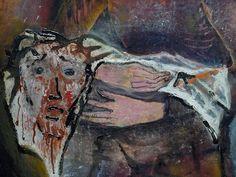 """KOKOSCHKA Oskar,1909 - Véronique et le Voile de la Sainte Face (Budapest) - Detail -a   -  TAGS : art painter details détail détails detalles painting paintings peinture peintures 20th 20e """"peinture 20e"""" """"20th-century paintings"""" """"20th century"""" """"details of painting"""" """"details of paintings"""" tableaux paintings Hongrie Hungary people woman women """"jeune femme"""" """"young woman"""" """" Véronique et le Voile de la Sainte Face"""" Véronique Voile Sainte Face Christ blood sang sainte holy"""