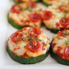 "Zucchini Pizza Bites!! Servings: 1 • Serving Size: 4 pieces • Old Points: 2 pts • Points : 3 pts Calories: 124.8 • Fat: 5.7 g • Protein: 8.2 g • Carb: 10.4 g • Fiber: 3.0 g Ingredients: 4 slices large zucchini 1/4"" thick (or 1 medium zucchini cut on diagnal) olive oil spray (I used my Misto) salt and pepper 2 tbsp quick marinara sauce 1/4 cup shredded part skim mozzarella Directions: Cut zucchini about 1/4 inch thick. Spray both side lightly with oil and season with salt and pepper. ..."