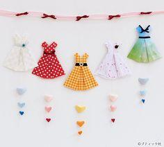 折り紙で作る、かわいいワンピースの折り方を分かりやすくご紹介!乙女心をくすぐるかわいいワンピースは、ガーランドとして飾っても素敵。 Origami Easy, Origami Paper, Arts And Crafts, Paper Crafts, Pin Collection, Girly Things, Quilling, Banner, Kids