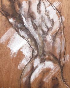 Torse, nu masculin (Dessin),  41,7x60x0,4 cm par Fabienne Monestier Acrylique et craies d'art sur contreplaqué 4mm d'épaisseur.