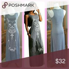 "PURRFECT 😺 M|L|XL|XXL Grey Cat Maxi Tank Dress NEW/never worn Screen printed cat design, 2 side seam pockets Soft cotton/poly blend knit jersey Also available in red or black  *RUNS SMALL Order UP 1 size* Floor length on petite person (I'm 5'10"" & hemline falls above ankle)  S: Bust 32"", Waist 26"", Hips 39"", Length 51"" M: Bust 35"", W 29"", H 39"", L 51.5"" L: Bust 35"", W 32"", H 41"", L 51.5"" XL: B 36"", W 34"", H 43"", L 52.25"" XXL: B _"", W _,"", H _"", L _"" *TBD* (Length from shoulder)  AX1387R…"