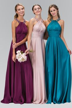 Floor length beaded halter neck long chiffon evening gown bridesmaid dress in 7 colors