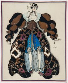 Costume design by Leon Bakst for La légende de Joseph, 1914