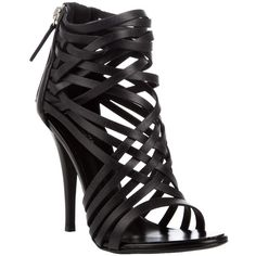 GIUSEPPE ZANOTTI FOR BALMAIN Multi-strap leather sandals (1,690 PEN) ❤ liked on Polyvore featuring shoes, sandals, heels, sapatos, scarpe, women, heeled sandals, high heels stilettos, black stilettos and stiletto sandals