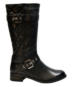Look what I found on #zulily! Black Quilted Lucille Boot by Pink Key #zulilyfinds