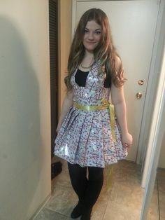 """I made my roommate a wrapping paper dress for an """"anything but clothing"""" party. http://ift.tt/1RXNEUr . how to make your own #crafts follow @cutephonecases"""