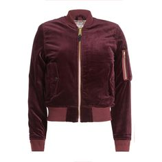Schott NYC Velvet Bomber Jacket (17.120 RUB) ❤ liked on Polyvore featuring outerwear, jackets, red, blouson jacket, bomber style jacket, brown velvet jacket, schott nyc and red velvet jacket