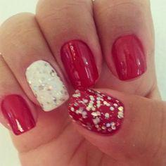 Vermelho, branco com glitter.