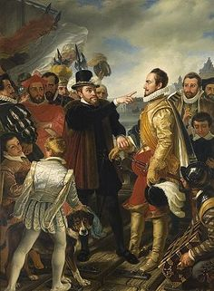 Philip II of Spain berating William the Silent. Prince of Orange by Cornelis Kruseman, painting from 19th century. This scene was purported to have happened on the dock in Flushing when Philip departed the Netherlands.