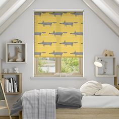 The Mr Fox Mini Sunflower roller blind adds a whole new level of playfulness to your home with the happy shade that the cunning creature sits on. br br The foxy print has a lovely printed texture,. Home, Childrens Interiors, House Inspiration, House Styles, House Design, Room Inspiration, Interior, Boys Bedrooms, Childrens Bedrooms
