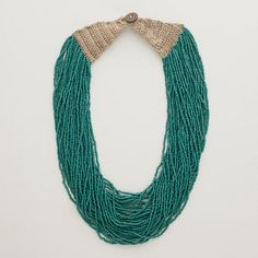 One of my favorite discoveries at WorldMarket.com: Teal Multi-Strand Seed Bead Necklace