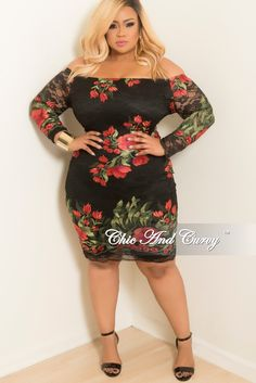 5e99d753d2 Final Sale Plus Size Off the Shoulder Lace Dress with Back Zipper in Black  Red and Green Floral Print