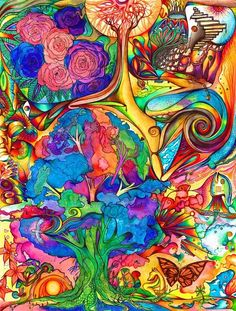 Psychedelic - '...after all it is only a weed which grows into a flower in the mind.'. (women's colorful, multi-track minds...)