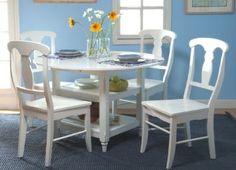 TMS Cottage 5 Piece Dining Set Features: -Chair features urn style back. Includes: -Set includes dining table and four dining chairs. Dining Room Furniture Sets, Dining Room Sets, Dining Chair Set, Outdoor Furniture Sets, Furniture Decor, Dining Tables, Dining Area, White Furniture, Kitchen Furniture