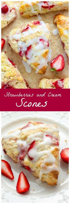 and Cream Scones My favorite scone recipe loaded with fresh strawberries and topped with a creamy vanilla glaze!My favorite scone recipe loaded with fresh strawberries and topped with a creamy vanilla glaze! Biscotti, Donuts, Just Desserts, Dessert Recipes, Fall Desserts, Drink Recipes, Snack Recipes, Strawberry Scones, Blueberry Scones