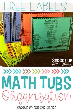 Using math tubs in kindergarten, first, or second grade is a great way to start the morning or your math block with fun, hands-on activities! Click the pin to learn how to set up your math tubs and sign up to get free labels too! #mathactivities #elementarymath