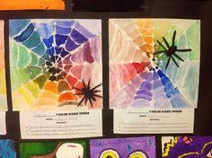 color wheel spider web art. Art lesson for kids.