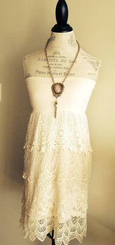 Ivory crochet dress by BohoAngels
