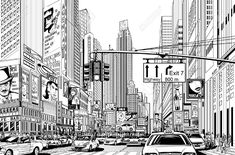 Illustration Of A Street In New York City Royalty Free Cliparts ...