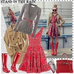 Cute!  Loving those cherry red Wellingtons!