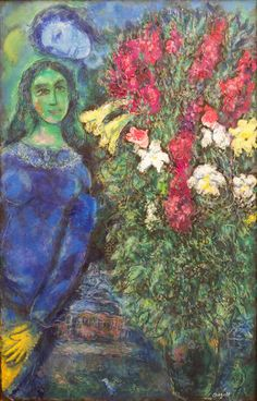 Marc Chagall, LA FEMME DU PEINTRE Oil on canvas 39 1/2 by 25 1/2 in. 100 by 65 cm Painted in 1970.