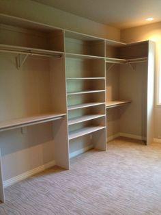 34 Ideas Long Narrow Closet Organization Walk In Shoe Racks For 2019 Bedroom Closet Design, Easy Closet Shelves, Diy Closet Shelves, Closet Designs, Closet Layout
