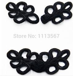 100set  Craft Handmade Fabric Black Braided Hollow Leaf Button Sewing On…