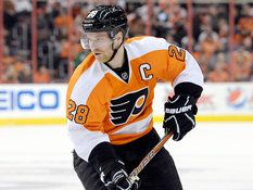 Claude Giroux (28) is shown during the second period of an NHL hockey game against the Ottawa Senators, Saturday, March 2, 2013, in Philadelphia. The Flyers won, 2-1. (Michael Perez/AP)
