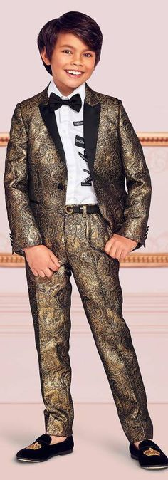 2cac842d0e80 Love this Dolce & Gabbana Boys EID Gold Jacquard Special Occasion Suit.  Perfect special