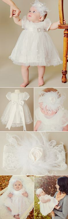 A stunning knee length dress with the finest of details. And a giant bow filled with feathers for a unique touch. #baptism