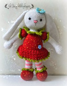 Strawberry bunny #crochet pattern for sale from The Lazy Hobbyhopper