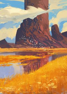 """Rocks and River"" by Amir Zand, Digital, 2017 - Art"