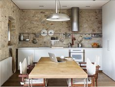 spanish house from the 1500s with modern kitchen